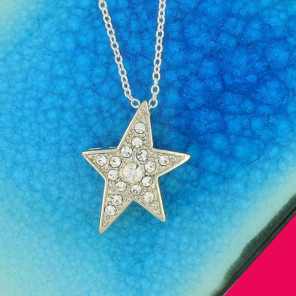 CO-102: Star pendant necklace with Austrian crystal accent