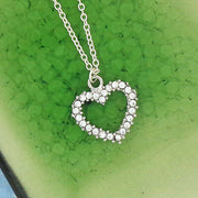 Online shopping for rhodium plated heart pendant necklace with Austrian crystal accent. A great gift for you or your girlfriend, wife, co-worker, friend & family. Wholesale available at www.lavishy.com with many unique & fun fashion accessories.