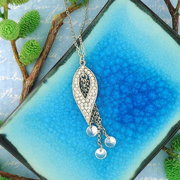 CO-107: Pendant necklace with Austrian crystal & cubic zirconia