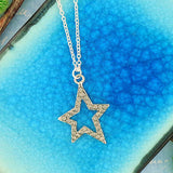 CO-108: Star necklace with Austrian crystal accent