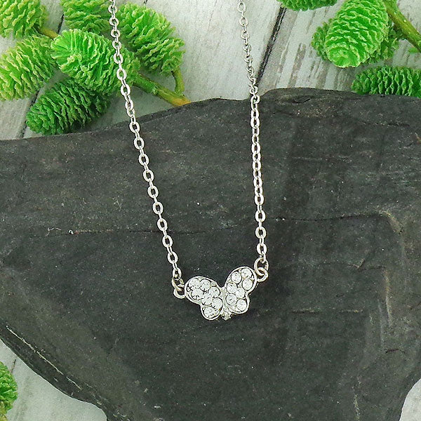 CO-112: Butterfly necklace with Austrian crystal accent