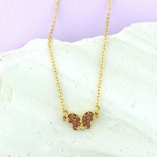 CO-110: Butterfly necklace with Austrian crystal accent & cubic zirconia drop