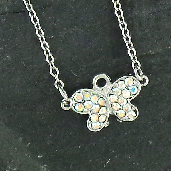 CO-111: Butterfly necklace with Austrian crystal accent