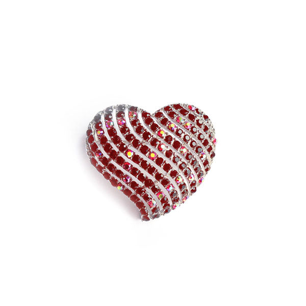 CO-121: Austrian crystal studded heart brooch