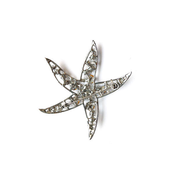CO-122: Austrian crystal studded starfish brooch
