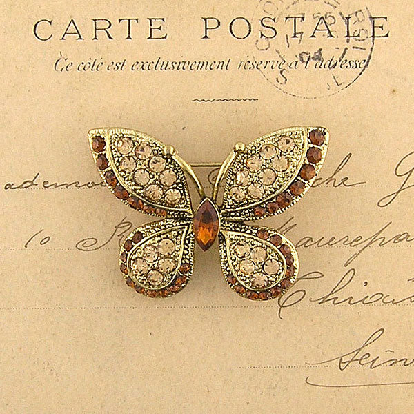 CO-129: Austrian crystal studded butterfly brooch