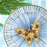 CO-135: Austrian crystal studded butterfly brooch