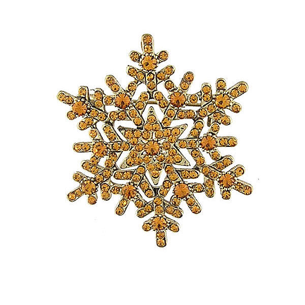 CO-137: Austrian crystal studded snowflake brooch