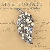 CO-138: Austrian crystal studded leaf brooch