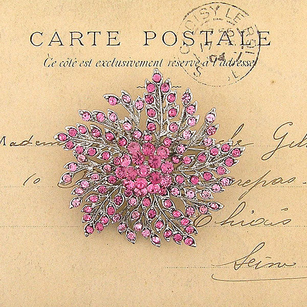 CO-139: Austrian crystal studded flower brooch