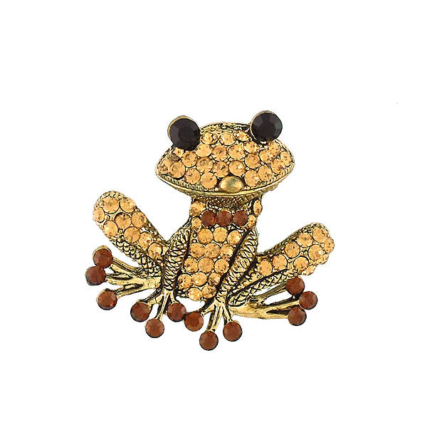 CO-141: Austrian crystal studded frog brooch