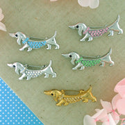 CO-143: Austrian crystal studded dog brooch