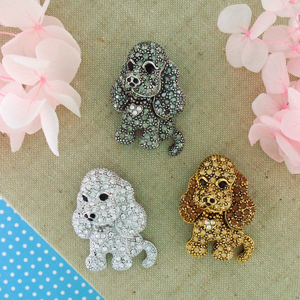 CO-155: Swarovski crystal studded dog brooch