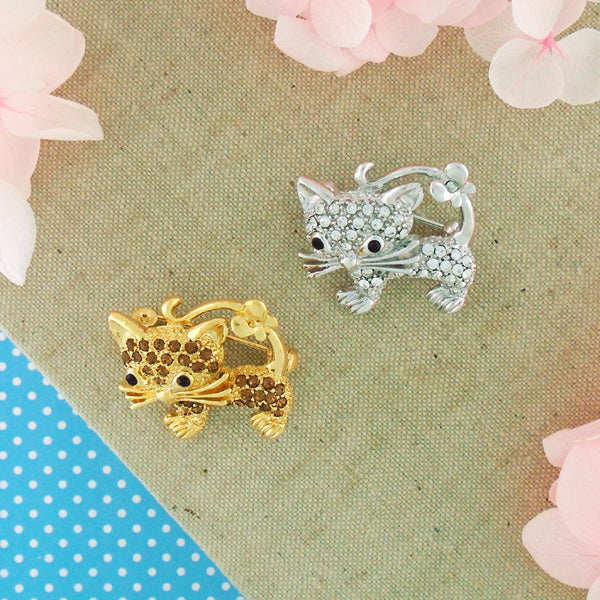 CO-156: Swarovski crystal studded cat brooch
