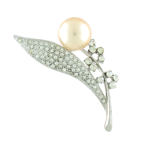 Online shopping for rhodium plated Swarovski crystal studded flower brooch. A great gift for you or your girlfriend, wife, co-worker, friend & family. Wholesale available at www.lavishy.com with many unique & fun fashion accessories.
