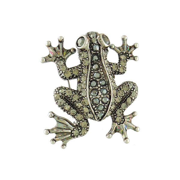 CO-161: Swarovski crystal studded frog brooch