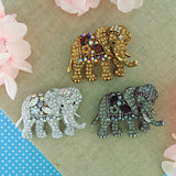 CO-164: Swarovski crystal studded elephant brooch