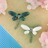 CO-165: Glass & Swarovski crystal dragonfly brooch