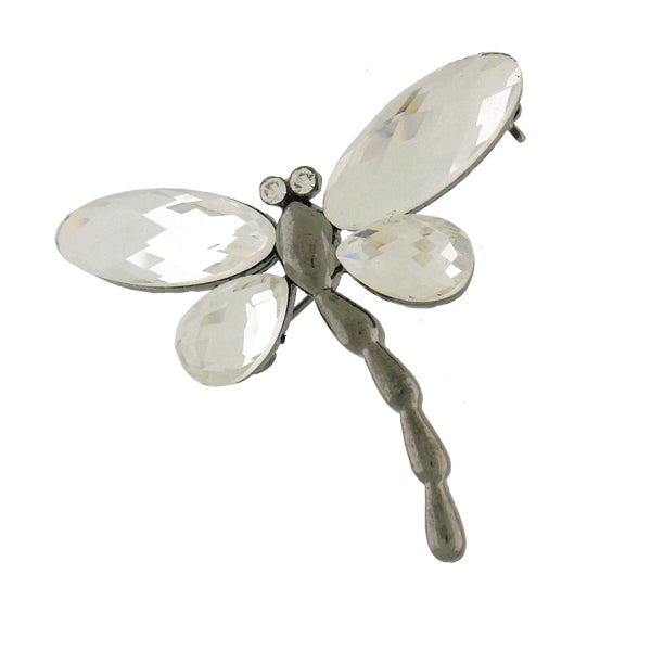 Online shopping for rhodium and gun black plated Glass & Swarovski crystal dragonfly brooch. A great gift for you or your girlfriend, wife, co-worker, friend & family. Wholesale at www.lavishy.com with many unique & fun fashion accessories.