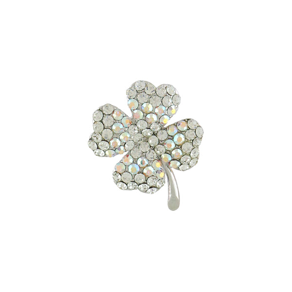 CO-168: Swarovski crystal studded lucky clover brooch
