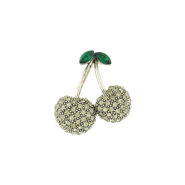 CO-173: Swarovski crystal studded cherry brooch