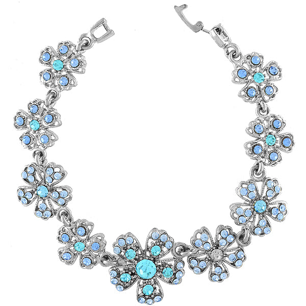 CO-181: Austrian crystal studded flower bracelet