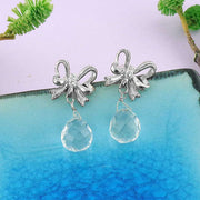 CO-200: Butterfly bow stud earrings with Austrian crystal & cubic zirconia drop