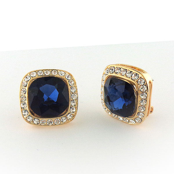 CO-202: Square earrings with rhinestone accents