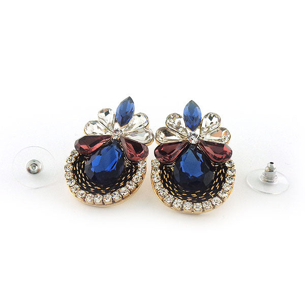 CO-203: Stud earrings with Austrian crystal & resin accents