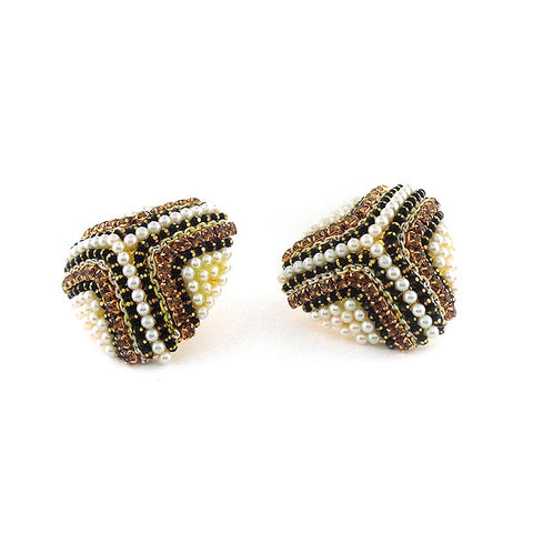 CO-204: Stud earrings with rhinestone & faux pearl accents