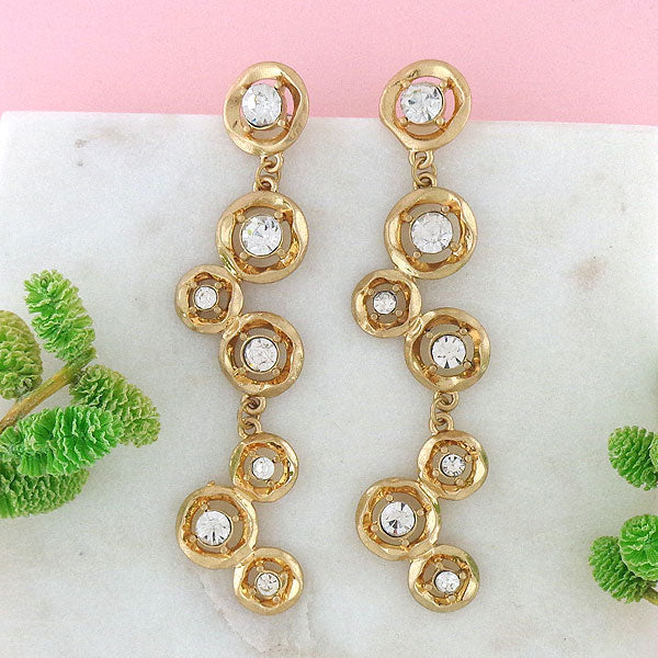 CO-205: Shoulder duster earrings with rhinestone