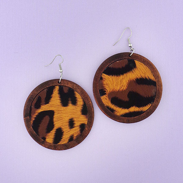 WDE005: Handmade wood earrings with animal print