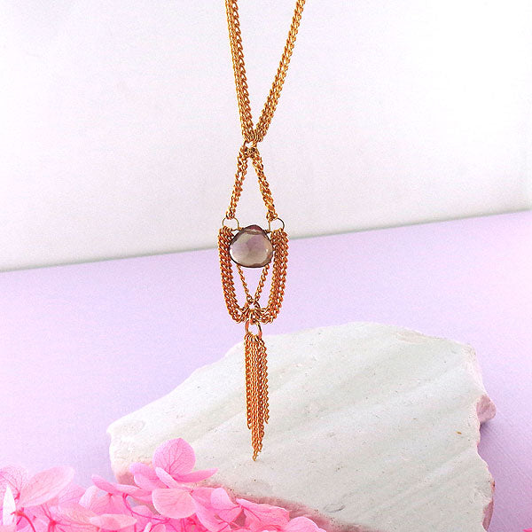 GDN002: Gold filled necklace with brown smoky quartz stone