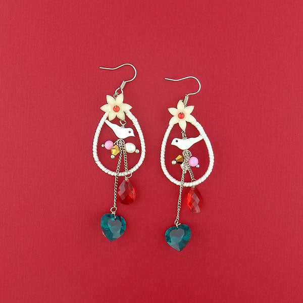 GE002: Handmade resin flower & bird earrings with glass heart drop