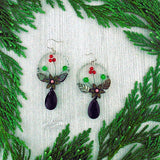 GE007: Handmade earrings with resin flower, leaf & glass beads