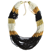 GNL-007: Handmade layered glass beads long necklace