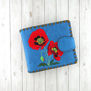Online shopping for vegan brand LAVISHY's embroidered poppy flower medium bifold wallet for women that is Eco-friendly, ethically made, cruelty free. Great for everyday use or a gift for your family & friends. Wholesale at www.lavishy.com to gift shops, fashion accessories & clothing boutiques worldwide since 2001.