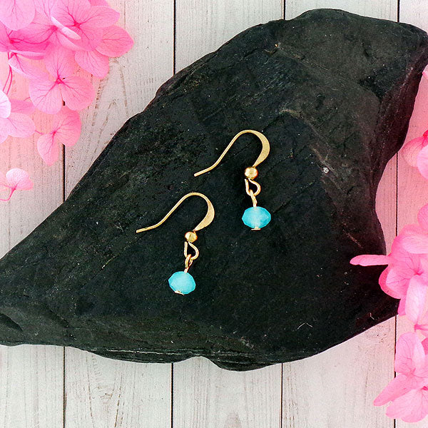 Online shopping for chic handmade bohemian style crystal & glass beads earrings by LAVISHY exclusive for LAVISHY Boutique made with tender aqua color glass beads of easy breezy beach lifestyle ambience. A great gift for you or your loved ones. These are exclusive for LAVISHY Boutique only.