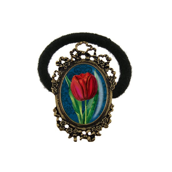 Online shopping for LAVISHY's unique & beautiful vintage style handmade elastic/stretch hair tie with tulips print & French Rococo style frame. A collector's piece & great gift idea. Wholesale at www.lavishy.com to gift shops, clothing & fashion accessories boutiques, book stores in Canada, USA & worldwide.