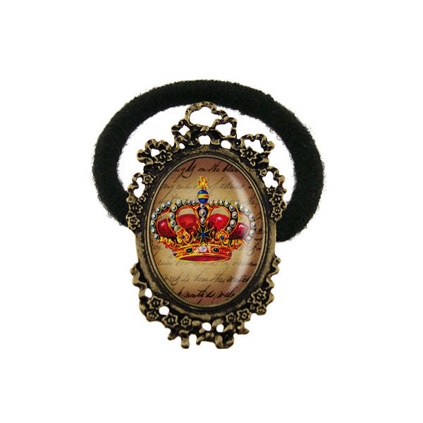 Online shopping for LAVISHY's unique & beautiful vintage style handmade elastic/stretch hair tie with crown print & French Rococo style frame. A collector's piece & great gift idea. Wholesale at www.lavishy.com to gift shops, clothing & fashion accessories boutiques, book stores in Canada, USA & worldwide.
