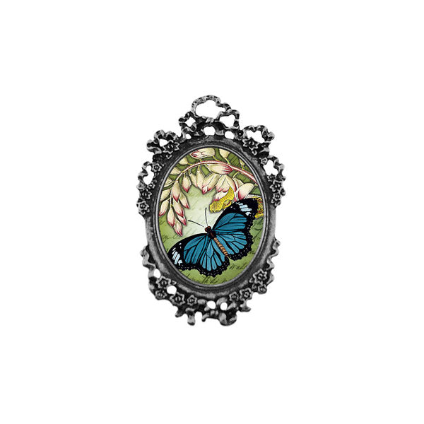 Shop LAVISHY's unique, beautiful & unique handmade vintage style pin/brooch with butterfly & flower print & French Rococo style frame. A great gift & a collector's piece. Wholesale available at www.lavishy.com with many unique & fun fashion accessories.