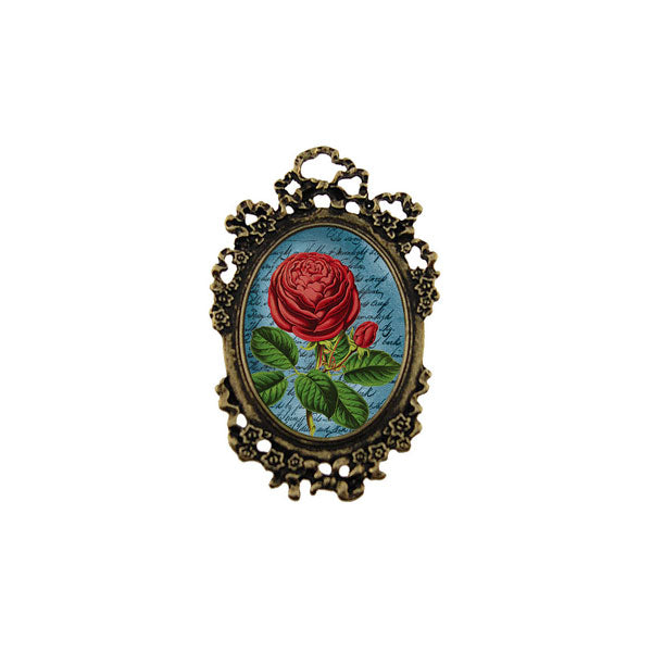 Shop LAVISHY's unique, beautiful & unique handmade vintage style pin/brooch with red rose print & French Rococo style frame. A great gift & a collector's piece. Wholesale available at www.lavishy.com with many unique & fun fashion accessories.