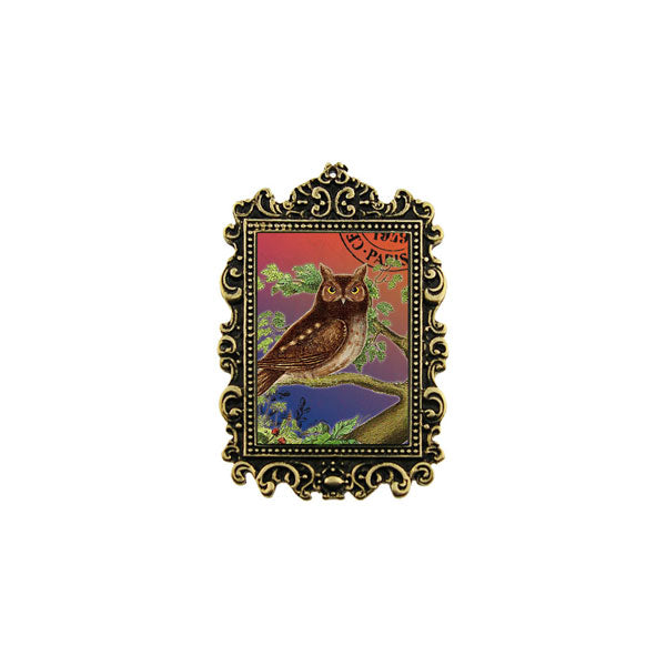 Shop LAVISHY's unique, beautiful & unique handmade vintage style pin/brooch with owl print & French Rococo style frame. A great gift & a collector's piece. Wholesale available at www.lavishy.com with many unique & fun fashion accessories.