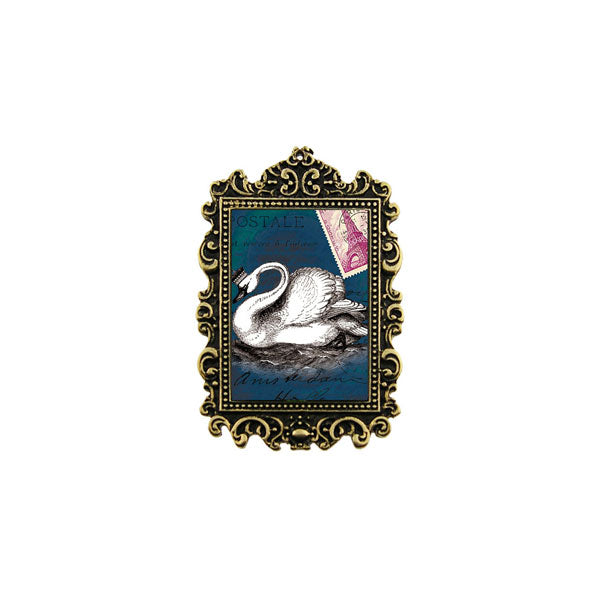 Shop LAVISHY's unique, beautiful & unique handmade vintage style pin/brooch with swan print & French Rococo style frame. A great gift & a collector's piece. Wholesale available at www.lavishy.com with many unique & fun fashion accessories.