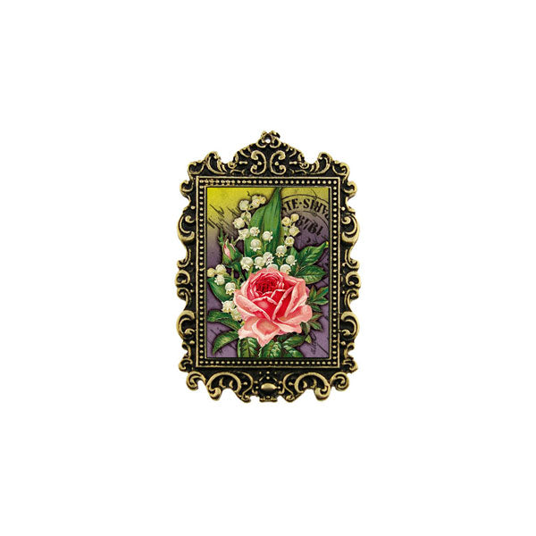 Shop LAVISHY's unique, beautiful & unique handmade vintage style pin/brooch with rose & lily of valley flower bouquet print & French Rococo style frame. A great gift & a collector's piece. Wholesale available at www.lavishy.com with many unique & fun fashion accessories.