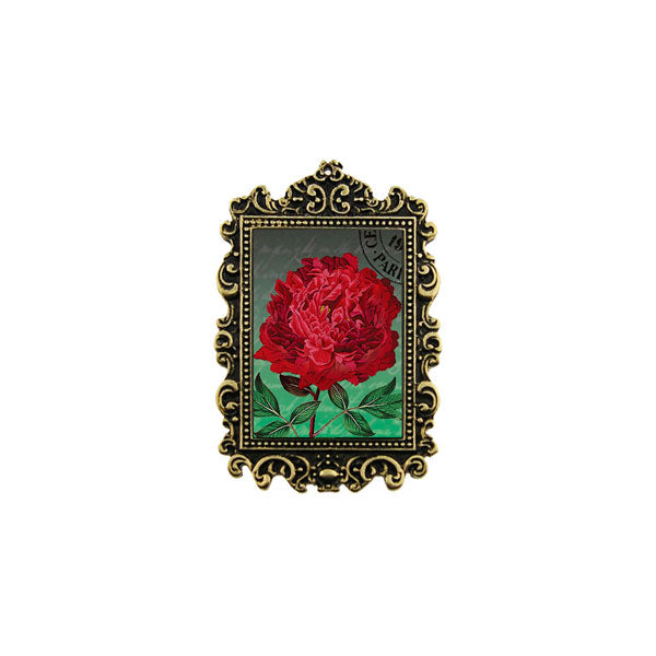 Shop LAVISHY's unique, beautiful & unique handmade vintage style pin/brooch with peony flower print & French Rococo style frame. A great gift & a collector's piece. Wholesale available at www.lavishy.com with many unique & fun fashion accessories.