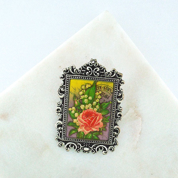 LSP004: Handmade rose & lily of valley brooch/pin
