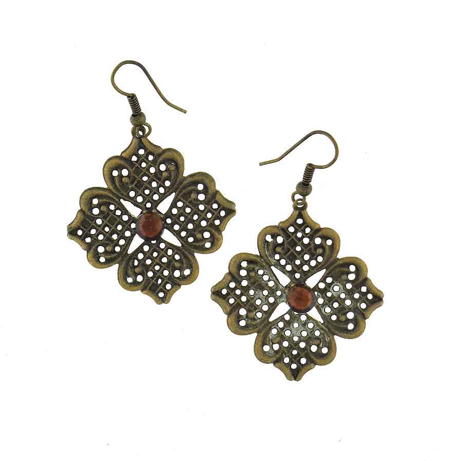 Shop LAVISHY vintage style metal earrings with rhinestone accent. A beautiful gift for you or your friends and family. They come with FREE LAVISHY gift box to make gift giving easy and fun!