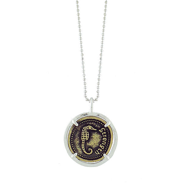 MN001: Stamped seahorse charm necklace