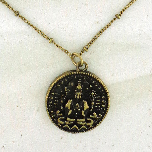 MN004: Vintage style reversible lotus & buddha necklace